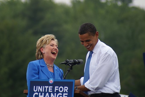 Hillary Clinton & Barack Obama Laughing