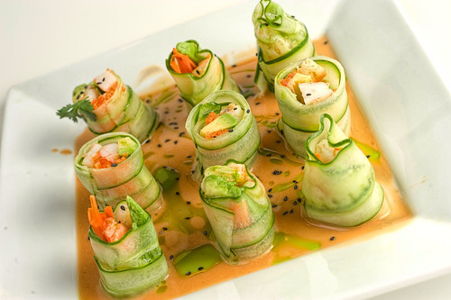 Shrimp and Cucumber Rolls with Sesame Vinaigrette and Cilantro Oil | by kern.justin