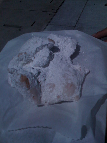 TERRIBLE photo of a DELICIOUS Vegan Beignet from Rodger's Coffee & Tea! | by vegansaurus!