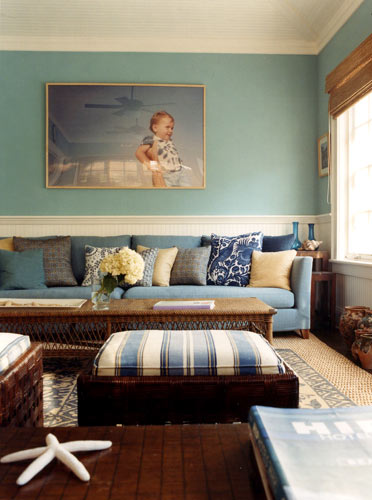 Blue & brown, Hamptons style: Perfect blues + natural accents + pattern mix | by SarahKaron