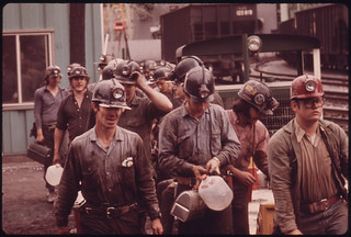 Miners Line Up to Go Into the Elevator Shaft at the Virginia-Pocahontas Coal Company Mine #4 near Richlands, Virginia 04/1974 | by The U.S. National Archives