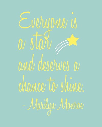 Everyone is a Star - Marilyn Monroe Quote in Blue | by 3LambsStudio