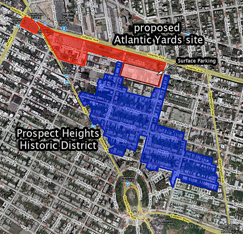 Atlantic Yards v. Prospect Heights Historic District map | by threecee