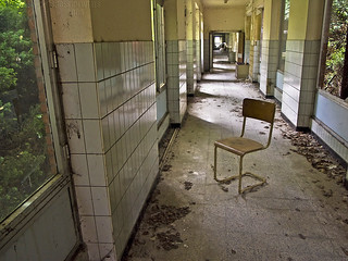 Antwerp - Abandoned Hospital Corridor with Obligatory Empty Chair | by Shoes on Wires