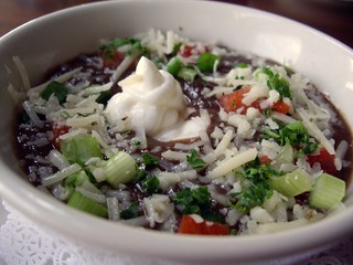 Cuban Black Bean Soup With Shaved Manchego, Fresh Crema, and Scallions | by swampkitty