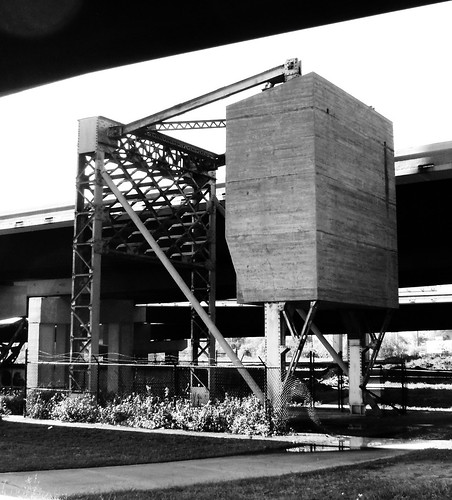 Counterweight, Buffalo Bayou Bascule Railroad Bridge, Houston, Texas 0316091437BW | by Patrick Feller