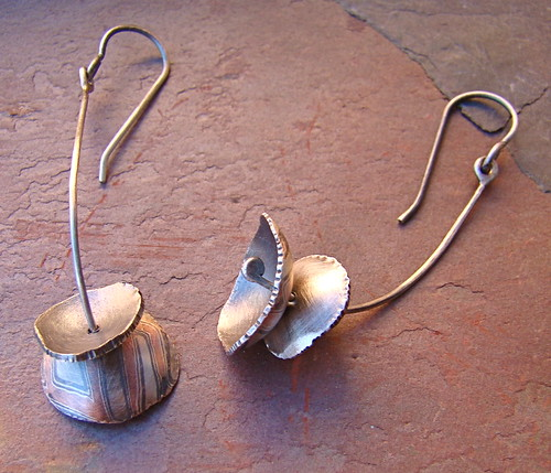 Mokume Gane Earrings: Mokume Gane Bell Earrings