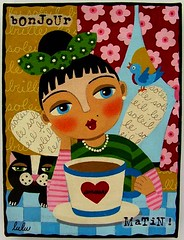 COFFEE OR TEA FAIRY WITH CAT painting by LuLu | by LuLu Mypinkturtle