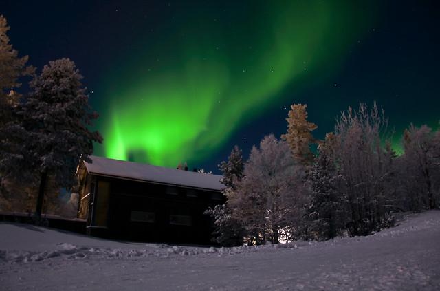 Northern Lights over Cabin