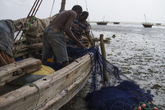 Readying the fishing net for high tide in Bagamoyo, Tanzania. Photo by Samuel Stacey, 2013.