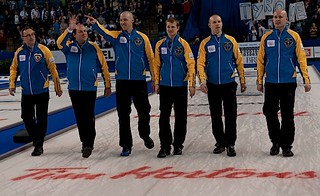 Kamloops B.C.Mar9_2014.Tim Hortons Brier.Alberta skip Kevin Koe,third Pat Simmons,second Carter Rycroft,lead Nolan Thiessen.CCA/michael burns photo | by seasonofchampions