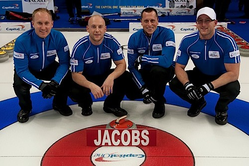 Team Jacobs — Soo Curlers Association, Sault Ste. Marie, Ont.Brad Jacobs, Ryan Fry, E.J, Harnden, Ryan Harnden, Tom Coulterman (coach) | by seasonofchampions
