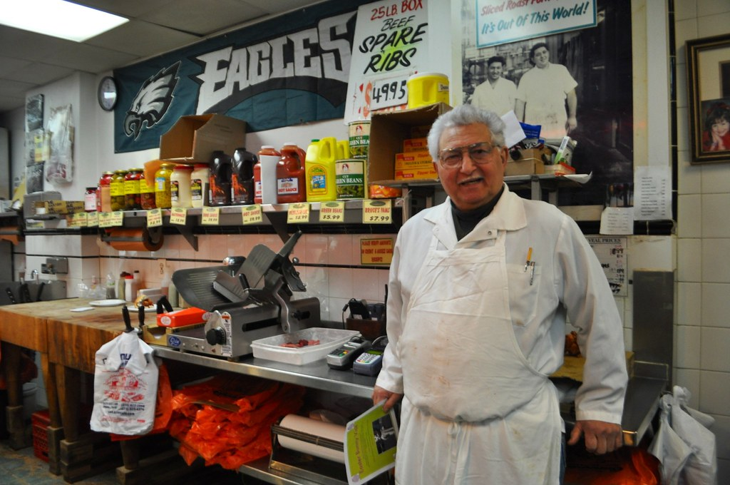Met Charles Cannuli Jr., Owner of Cannuli Bros. Quality Meats & Poultry during Urban Adventures 9th Street Italian Market Tour, Philadelphia, Pennsylvania, March 29, 2014