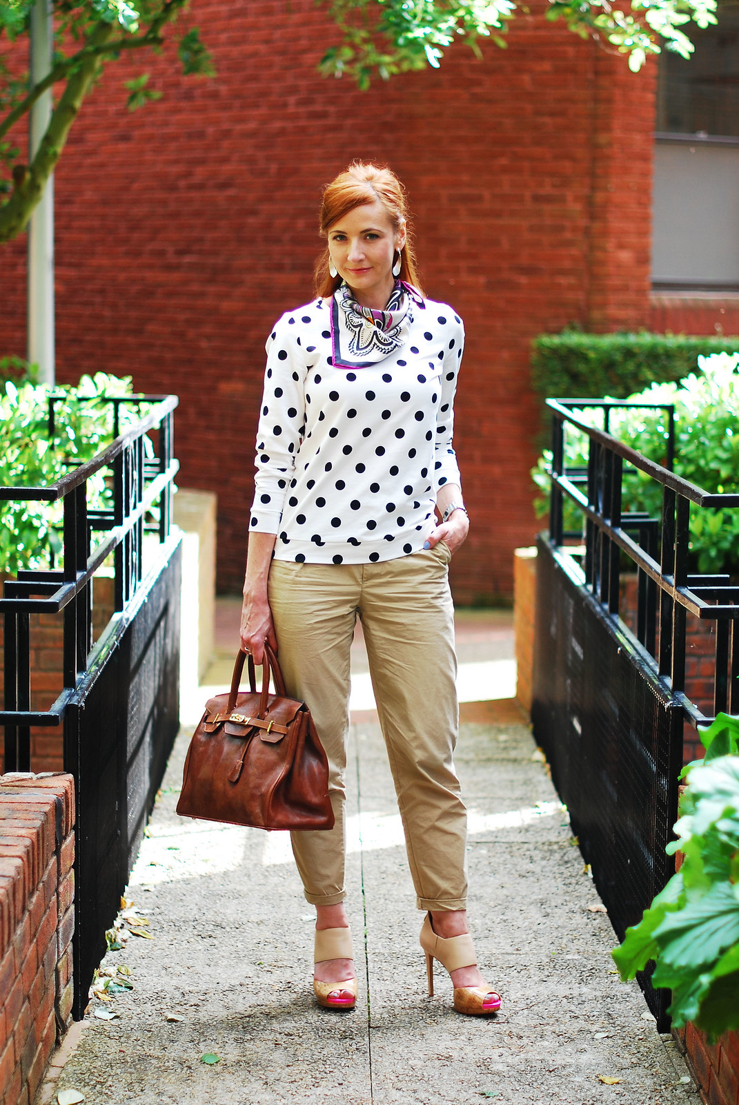Black & white polka dots with chinos