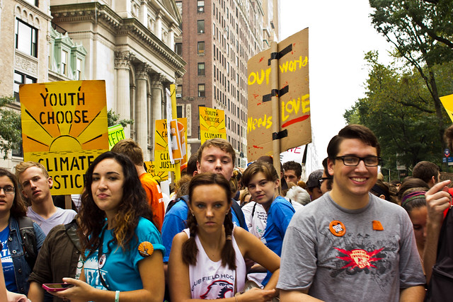 youth at a climate protest