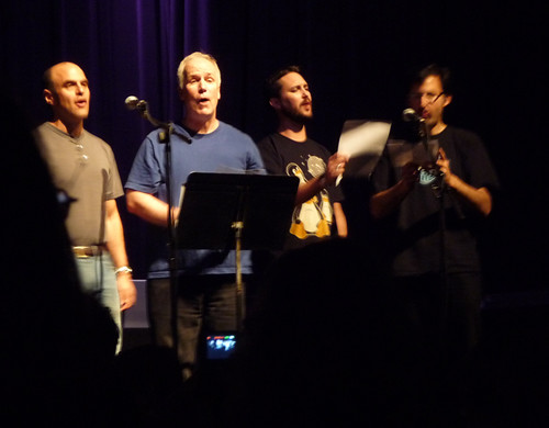 Peter Sagal, Bill Corbett (aka Crow T. Robot), Wil, & Storm | by thinkgeekmonkeys