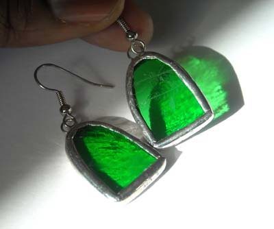 Green Stained Glass Earrings | by AfricanSand