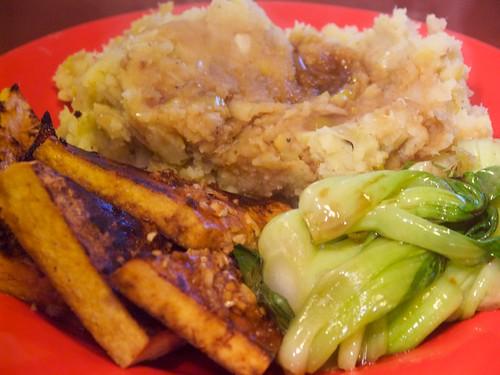 leek-mashed potatoes, wine-broiled tofu, spicy sesame-braised bok choy ...