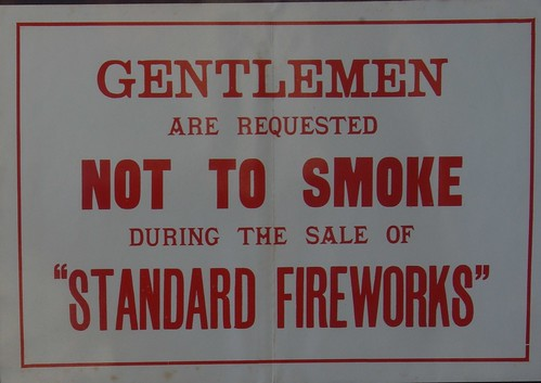 Old Standard Fireworks No Smoking Poster