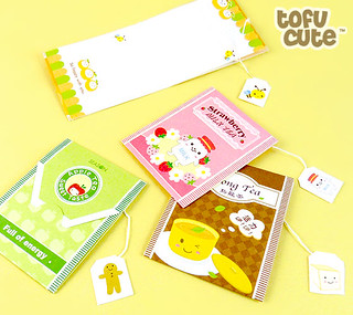 Kawaii Tea-Bag Memo Note Set | by TofuCute.com