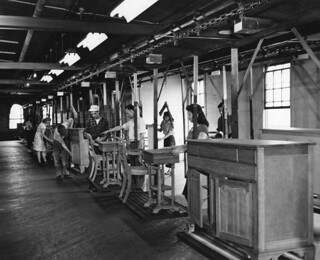 Furniture manufacturing caption workers in finishing for Furniture history society