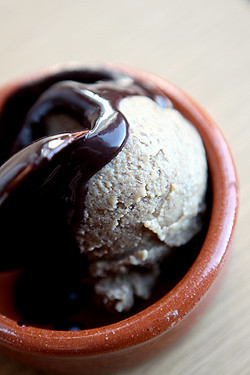 banana ice cream with chocolate sauce | by David Lebovitz