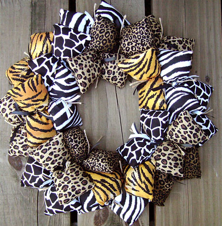 animal print fabric wreath for the wild beast in you