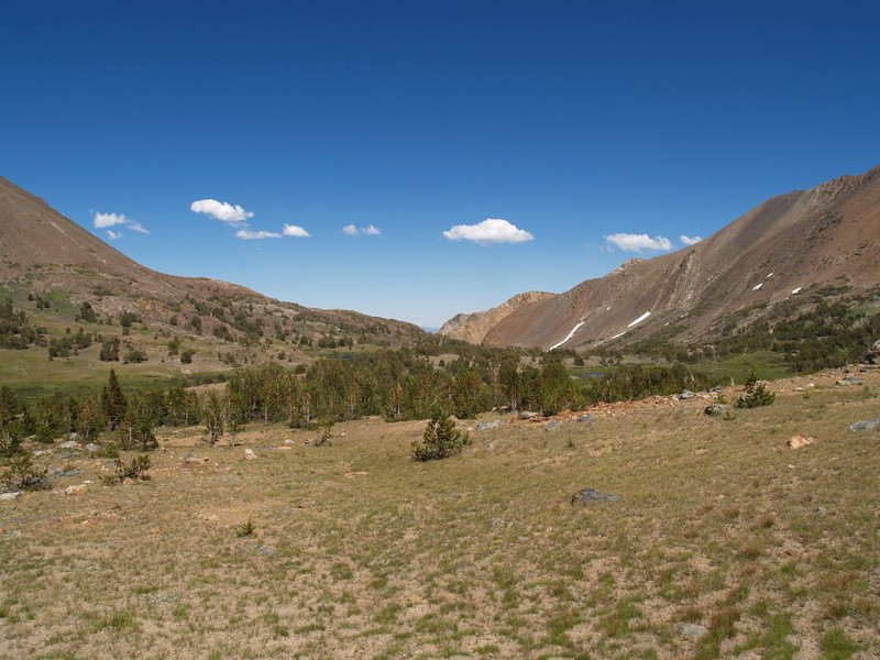 Looking east at Mono Pass and Bloody Canyon as we continue on the trail toward Parker Pass