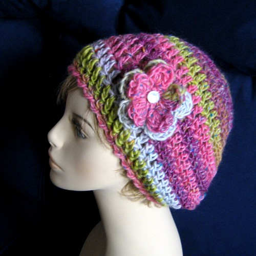 Jeweltone Slouch Hat with Flower Clip | by KnittingGuru