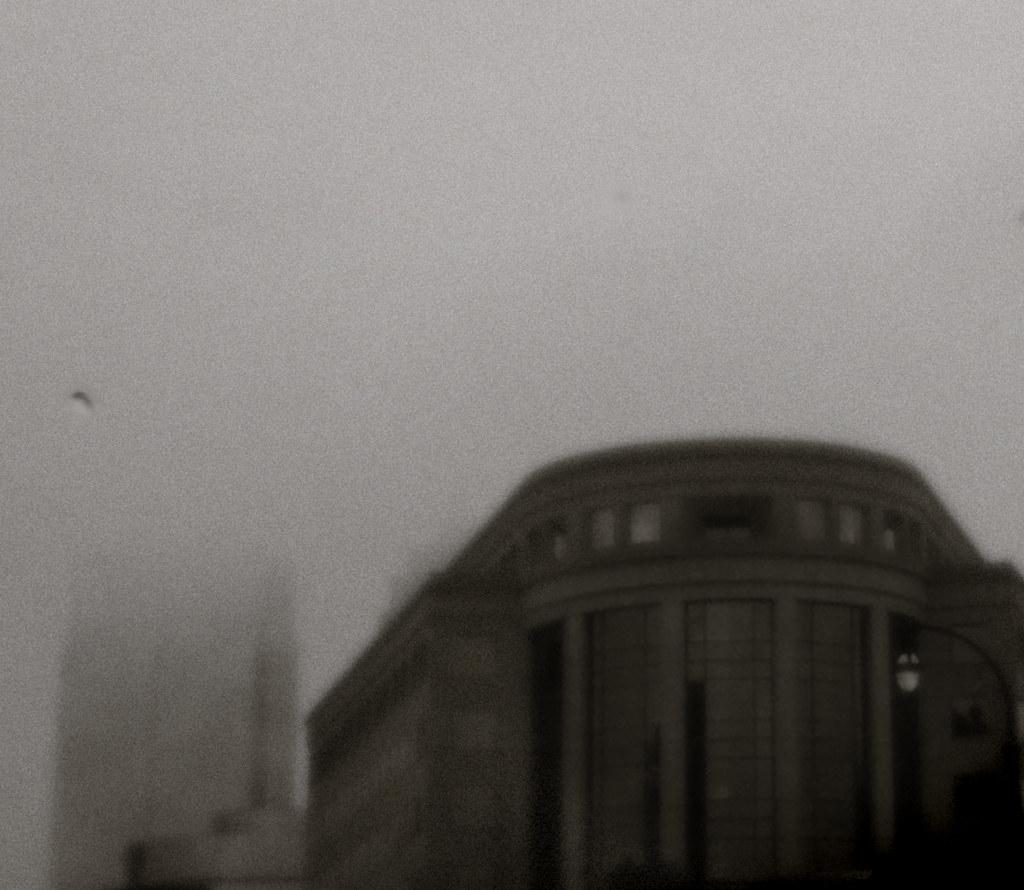 Midtown Building Through Rain