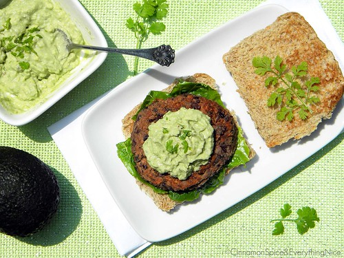 Southwest Black Bean Burgers with Guacamole Cream | by CinnamonKitchn