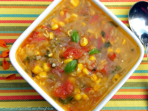 Corn, Tomato and Zucchini Soup with Basil | by CinnamonKitchn