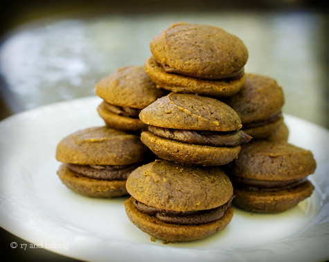 Pumpkin Whoopie Pies with Chocolate Cream Cheese Filling - Stacked | by Elissa @ 17 and Baking