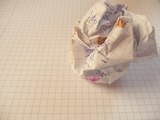 writer's block - crushed and crumpled paper on notepad | by photosteve101