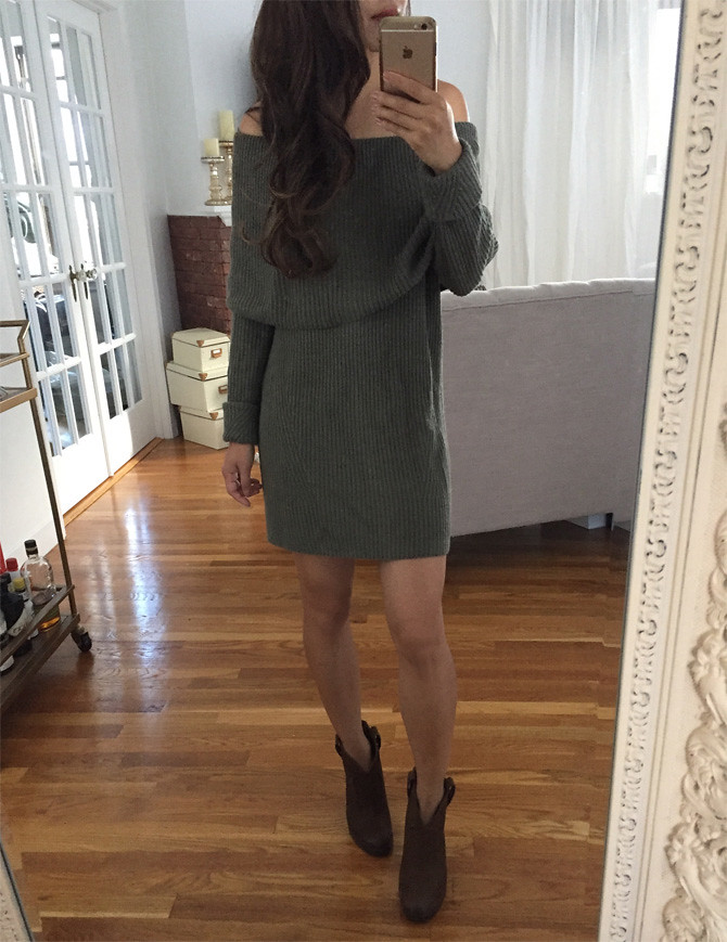 olive off shoulder sweater dress nordstrom