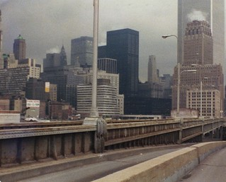 Abandoned West Side Highway south to NY Telephone Company and the World Trade Center. I could hear and feel that thunderstorm getting really close! New York. April 1974 | by wavz13