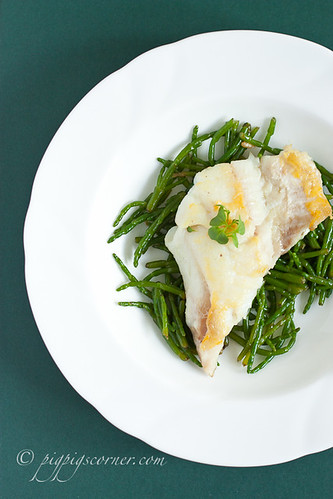 Samphire with lemon and butter sauce, haddock | by pigpigscorner