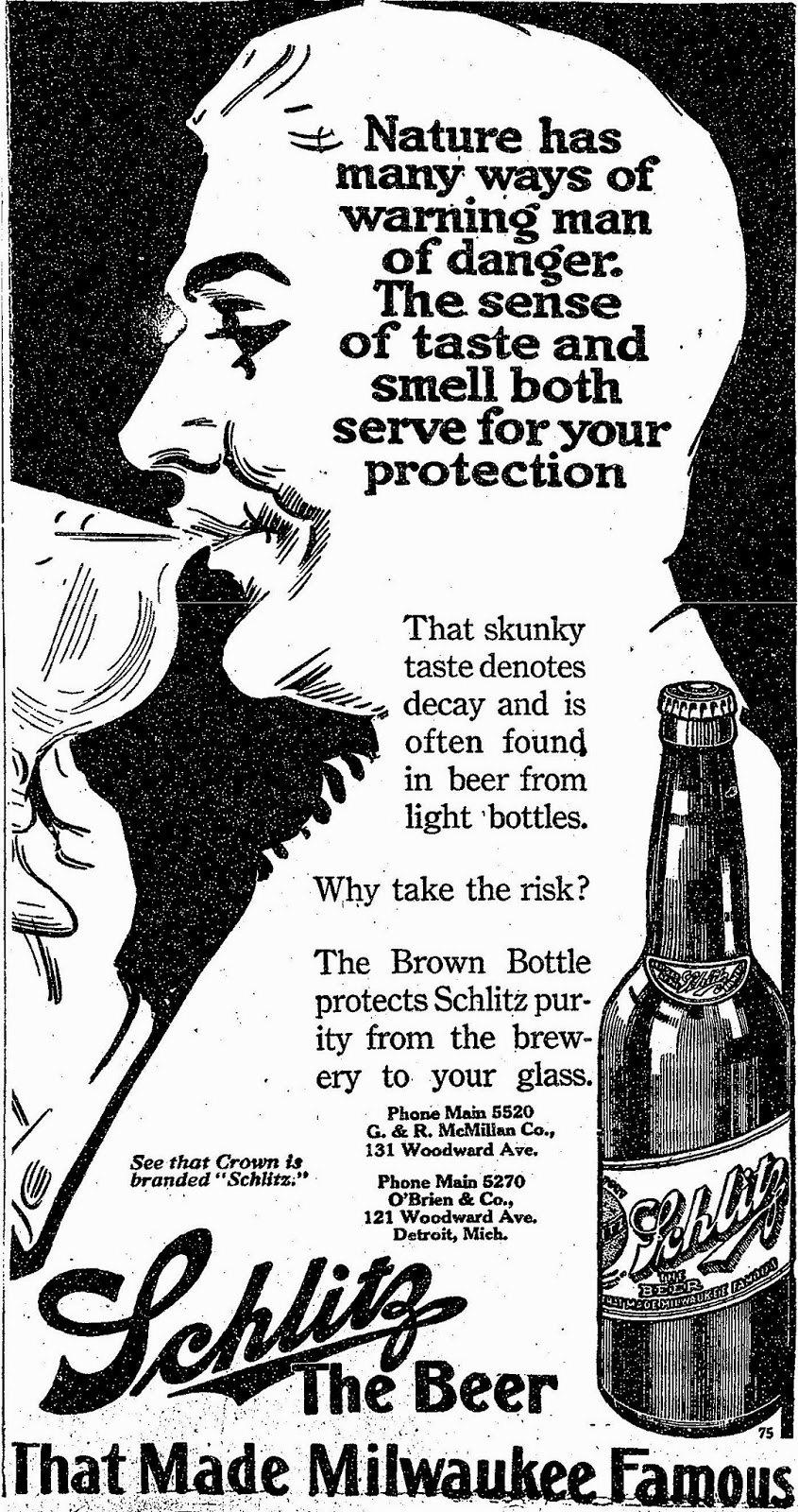 Schlitz advert, The Detroit Free Press, July 17, 1914