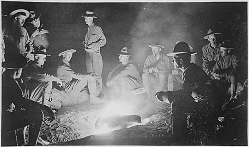 Around the camp-fire, men of Company A, 16th Infantry, San Geronimo, Mexico, May 27th, 1916. This photo was obtained by flashlight powder., 1922 - 1922 | by The U.S. National Archives