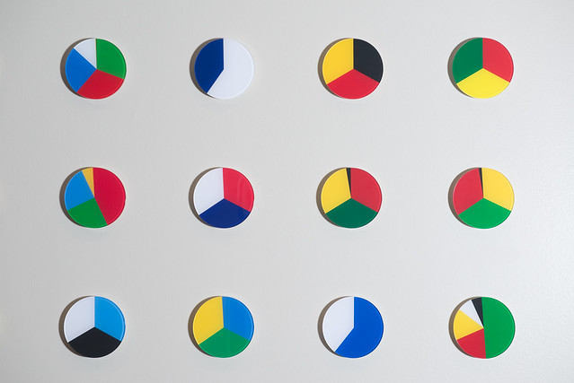 colored pie charts on wall
