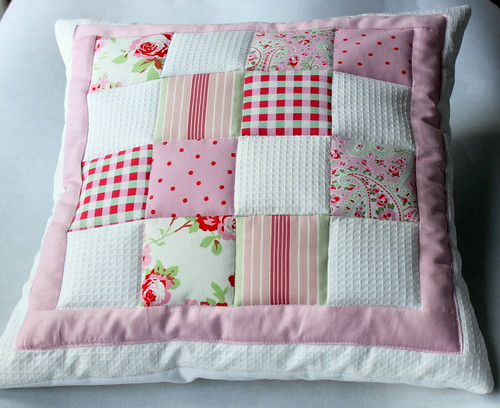 Quilted patchwork cushion  Flickr  Photo Sharing!