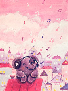 12 - Music Lover - Rondy the Elephant listening to music on the roof | by Oksancia