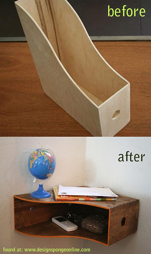 wooden magazine holder to shelf | by cottoncandycastle