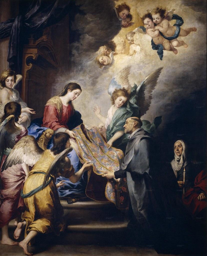 Murillo - La Descensión de la Virgen para premiar los escritos de San Ildefonso