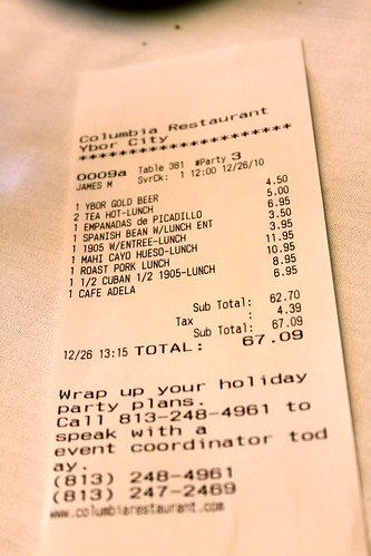 Our bill at The Columbia Restaurant, Tampa, Florida | by Kim | Affairs of Living