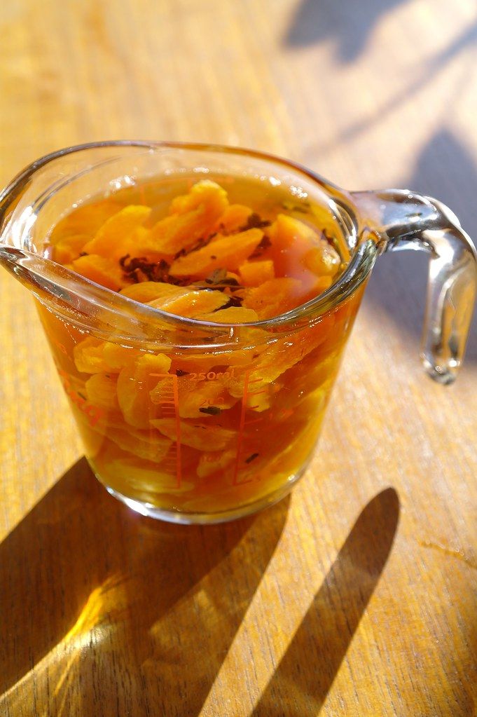 dried apricots soaked in earl grey tea