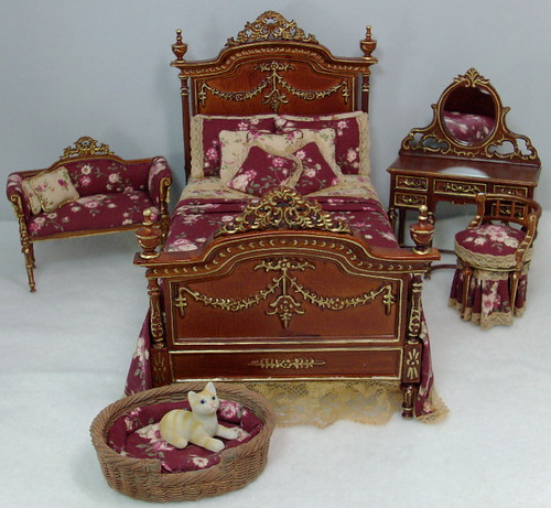 Victorian Bedroom Set, Dollhouse Miniatures By Deb's Minis