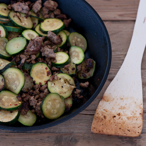 buttery zucchini & ground beef | by jules:stonesoup