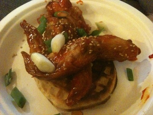 Finally got a hold of the Korean chicken & waffles a la @mattatouille #Mammouth2011 | by Caroline on Crack