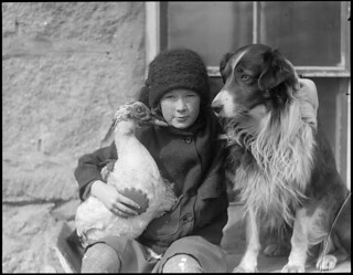 Girl with bird and dog | by Boston Public Library